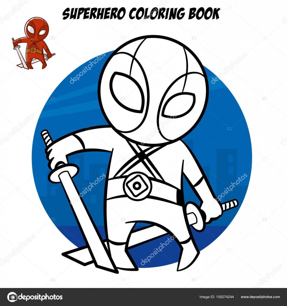 Superhero Malbuch. Comic-Figur isoliert auf weißem Hintergrund ...