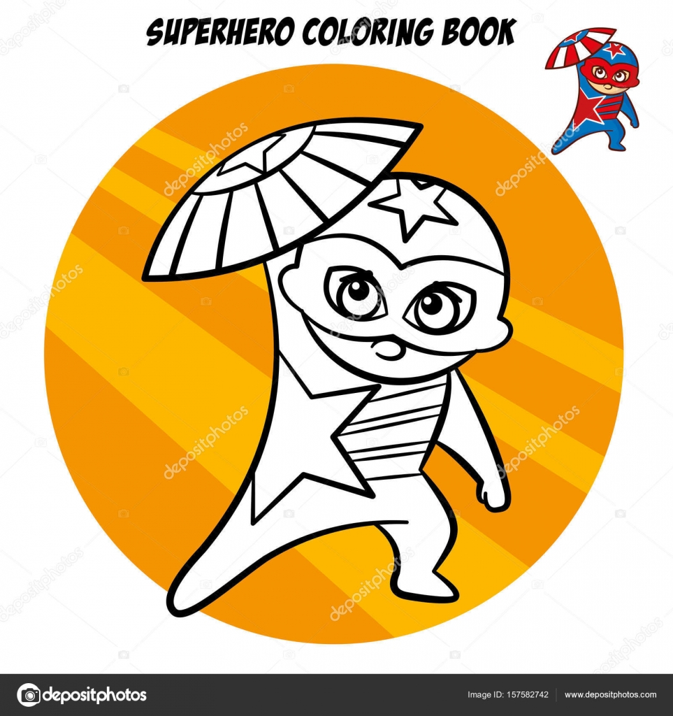 Libro para colorear de superhéroes. Carácter cómico aislado sobre ...