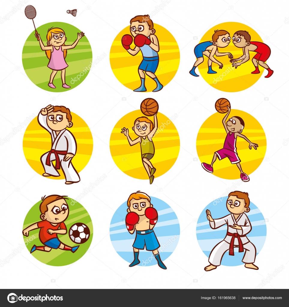 漫画の子供スポーツ設定ベクター クリップ アート — ストックベクター