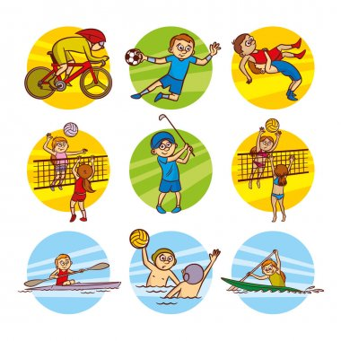 Cartoon kids Sport set Vector Clip Art