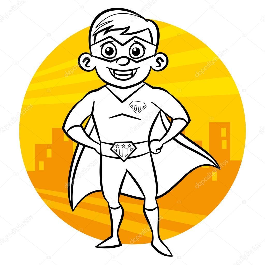 Malvorlagen Superhelden. Comic-Figur isoliert auf weißem Hintergrund ...