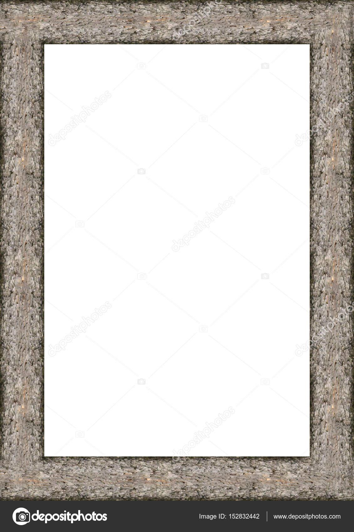 Marco de retrato en blanco con bordes de madera — Foto de stock ...