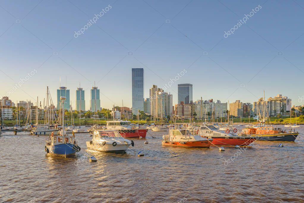 Montevideo Small Port Cityscape, Uruguay - Stock Editorial