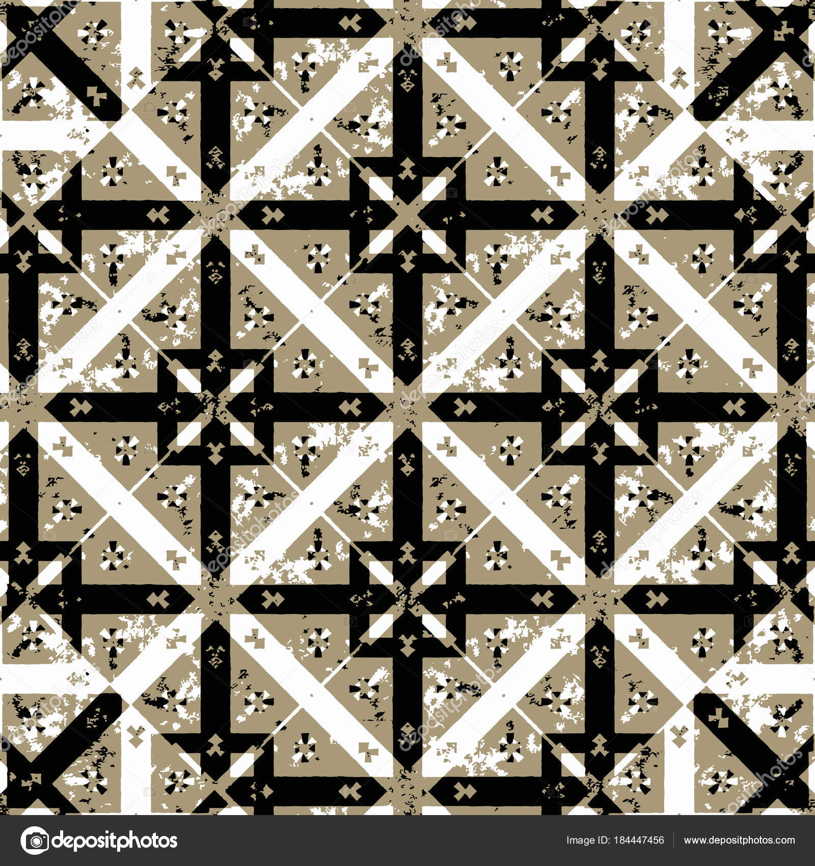 Digital Art Technique Geometric Check Style Medieval Or Gothic Motif Seamless Pattern Design In Brown Againt Black And White Colors