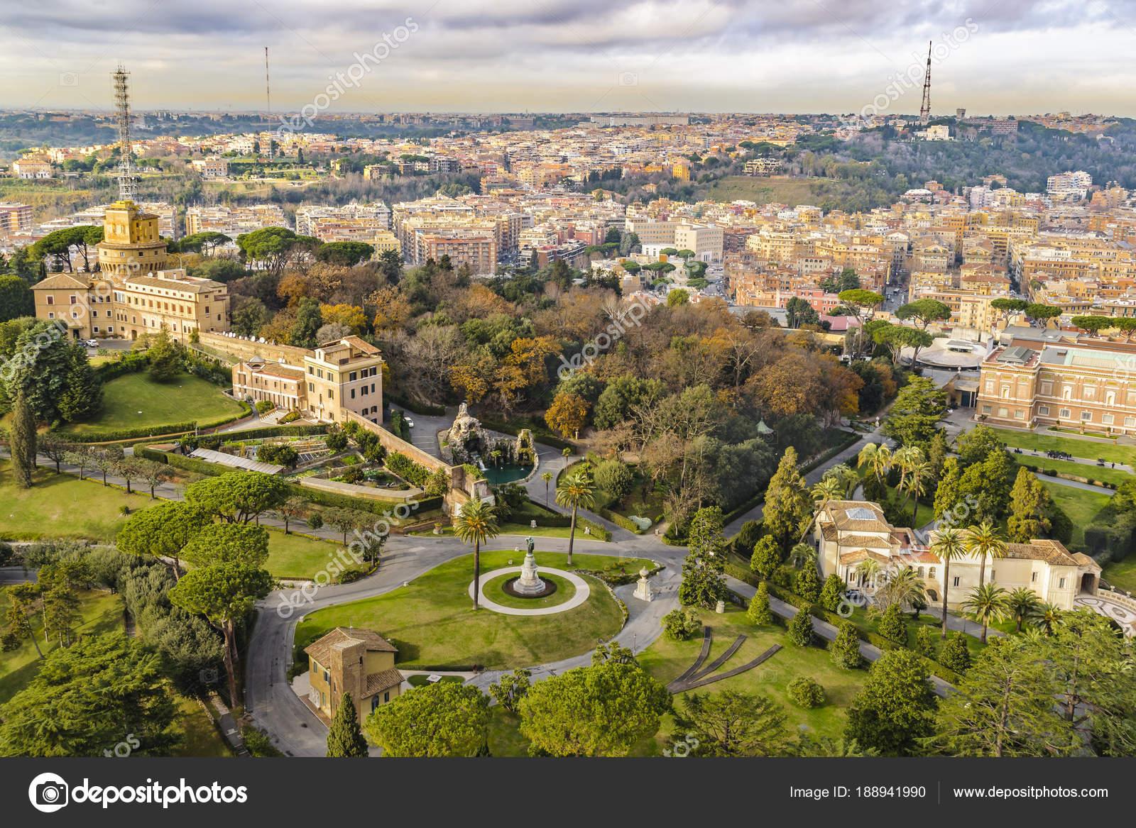 Vatican Gardens Aerial View at Saint Peter Basilica Viewpoint ...