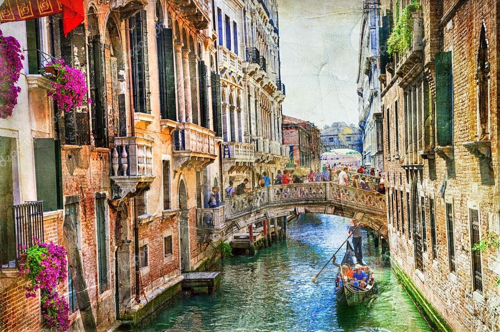 Romantique venise canaux et gondoles oeuvre dans le for Tableau style romantique