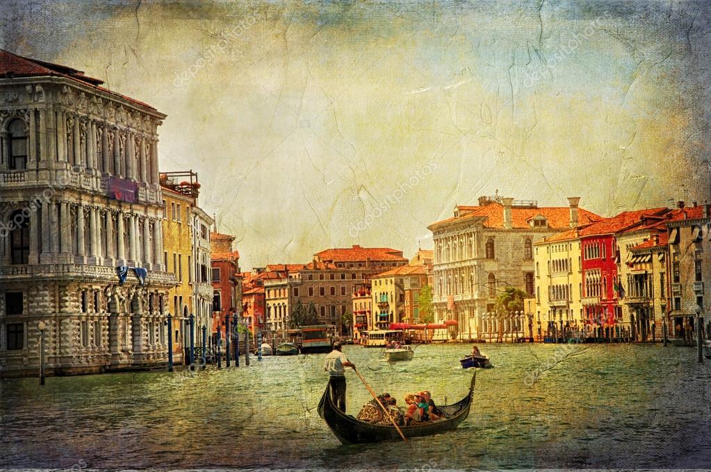 Canaux de la Venise romantique - oeuvre dans la peinture de style — Photographie Maugli © #125167792