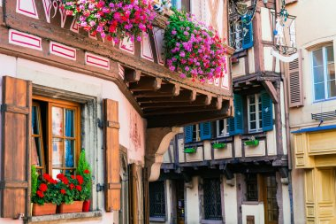Charming floral streets of Strasbourg old town. France, Alsace