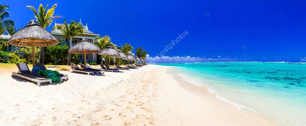 Serene tropical holidays - perfect white sandy beaches of Mauritius.