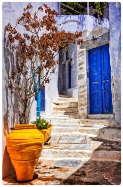 charming old streets of authentic Greek villages. Amorgos island
