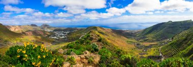 Lanzarote - impressive beauty of volcanic island.View of Haria,Canary,Spain.