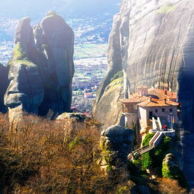 Monasteries hunging on the rocks.  Meteora, central Greece.