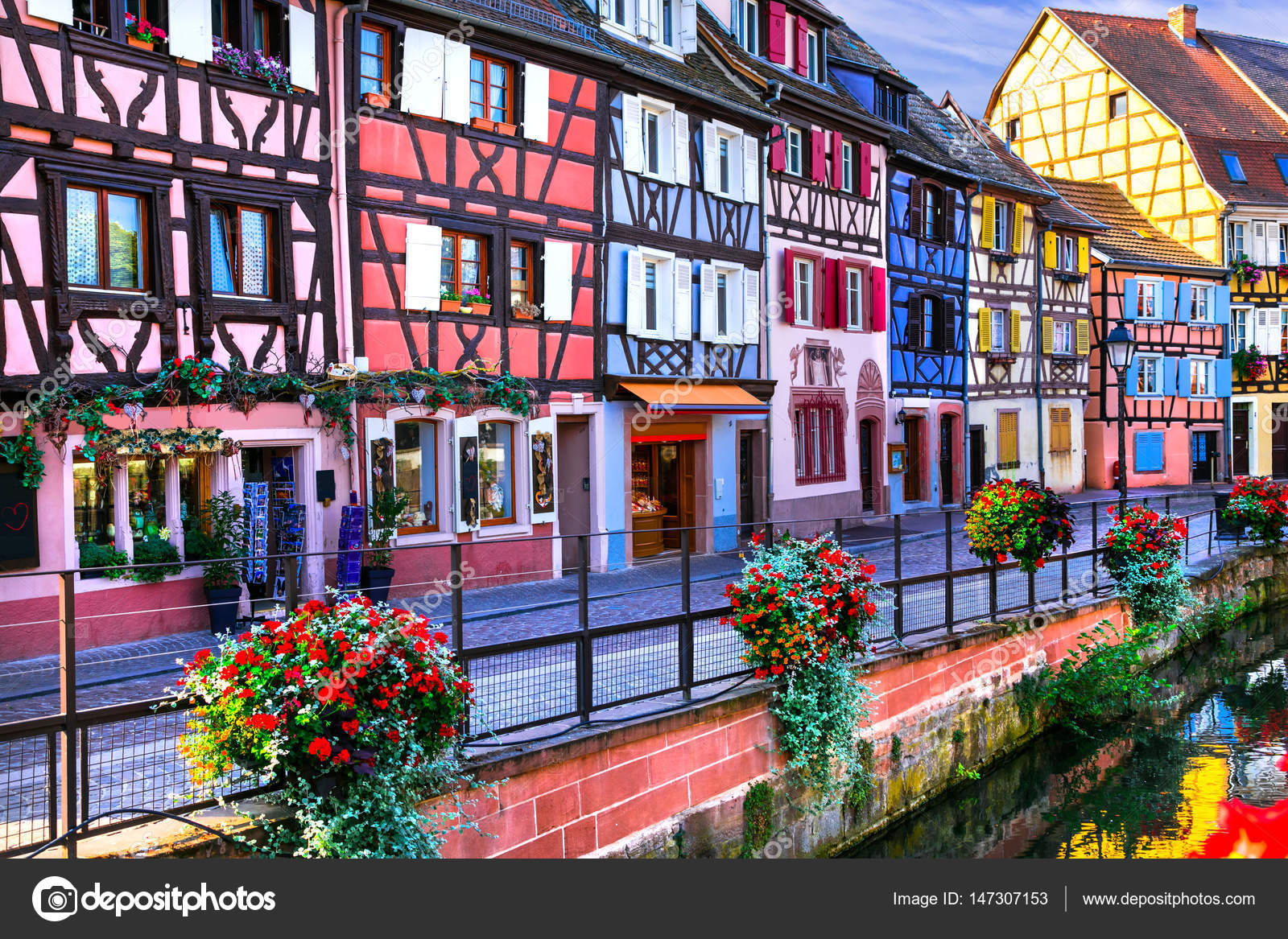 Elsass Karte Colmar.Most Beautiful Colorful Towns Colmar In Alsace France Stock
