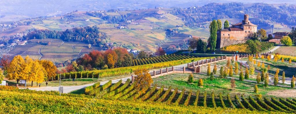 Vineyards and castles of Piemonte in autumn colors. Italy