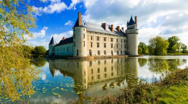 Romantic medieval castles of Loire valley - beautiful Le Plessis Bourre,France.