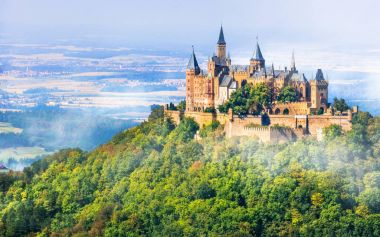 Medieval castles of Germany - impressive Hohenzollern ,view with fortress.