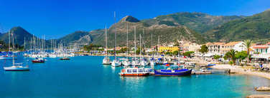 Ionian islands of Greece - beautiful Lefkada, view of port and azure sea.