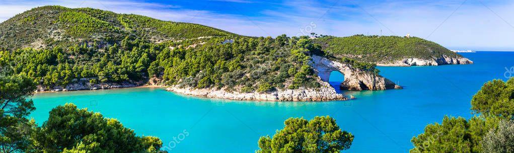 Italian holidays in Puglia - Natural park Gargano with beautiful azure sea,Italy.