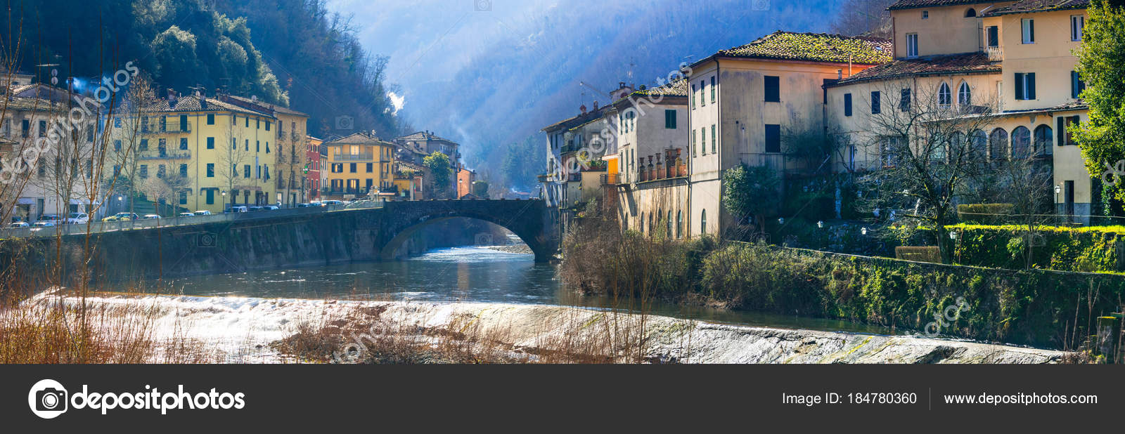 Traditional villages of Tuscany - Bagni di Lucca, Italy — Stock ...