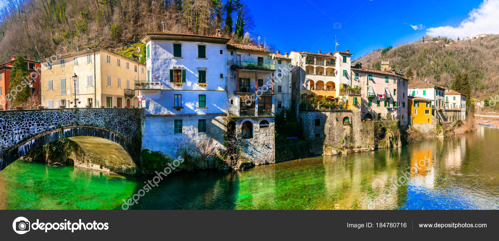 Traditional villages of Tuscany - Bagni di Lucca, Italy. — Stock ...