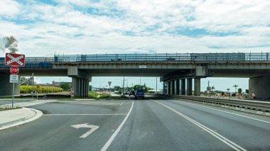 Mackay, Queensland, Australia: 3rd November 2019: Peak Downs Highway traffic overpass construction nearing completion stock vector
