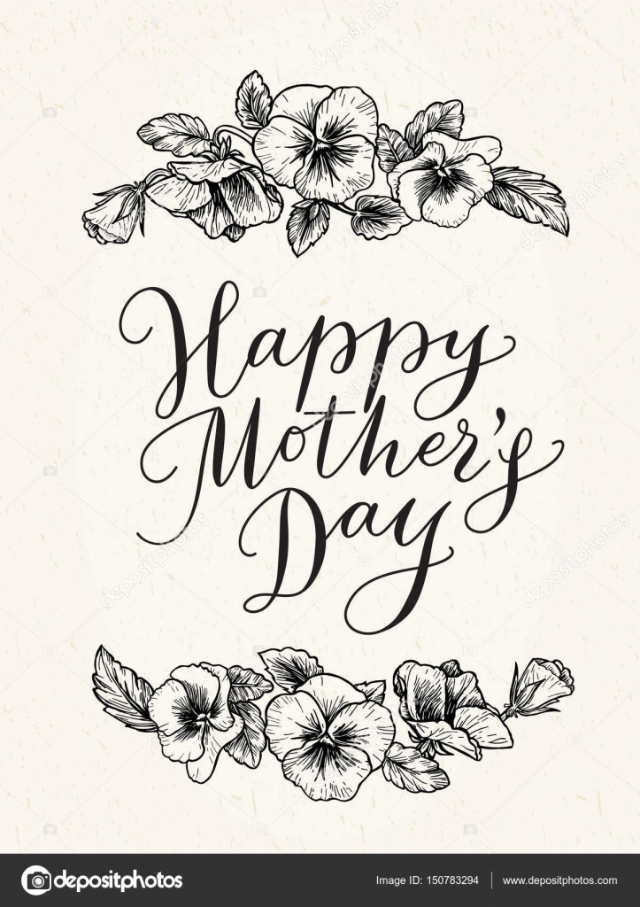 Happy mothers day card with text and frame of vintage botanical ...