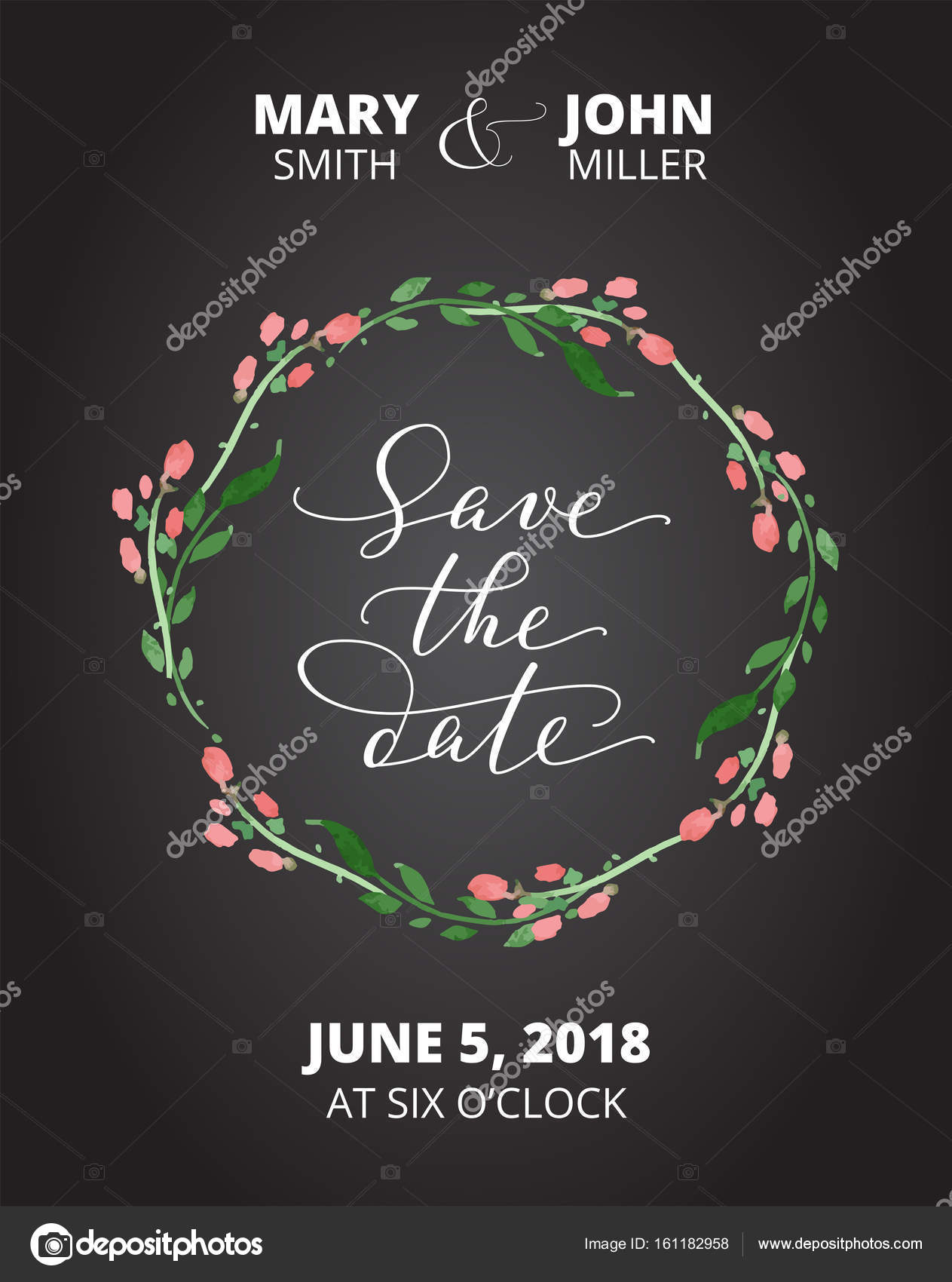 Save the date card with watercolor floral wreath, wedding invitation ...