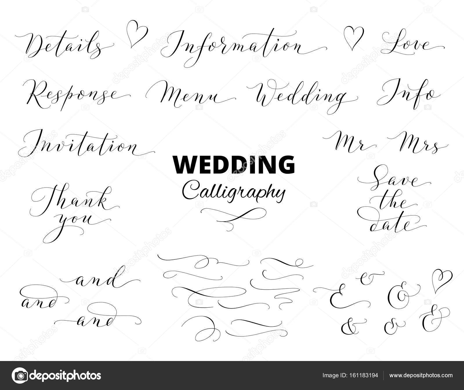 Wedding hand written calligraphy set isolated on white. Great for ...