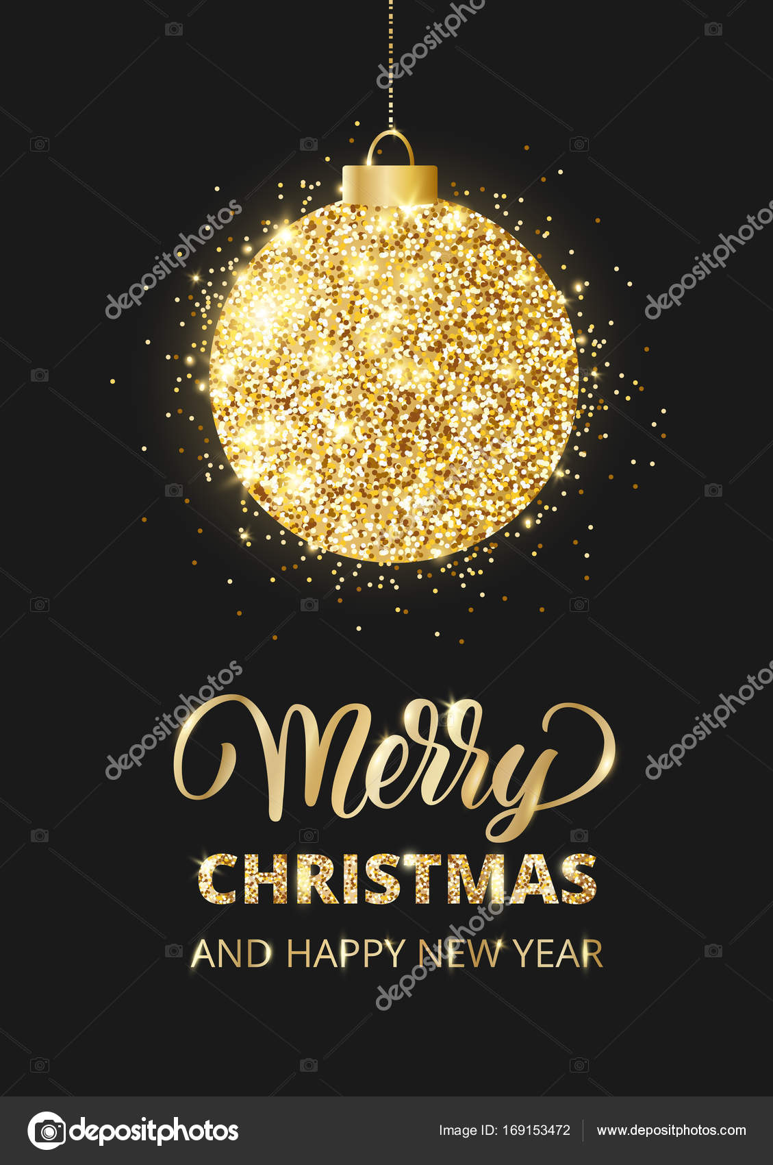 merry christmas and happy new year card with lettering glitter ball stock vector
