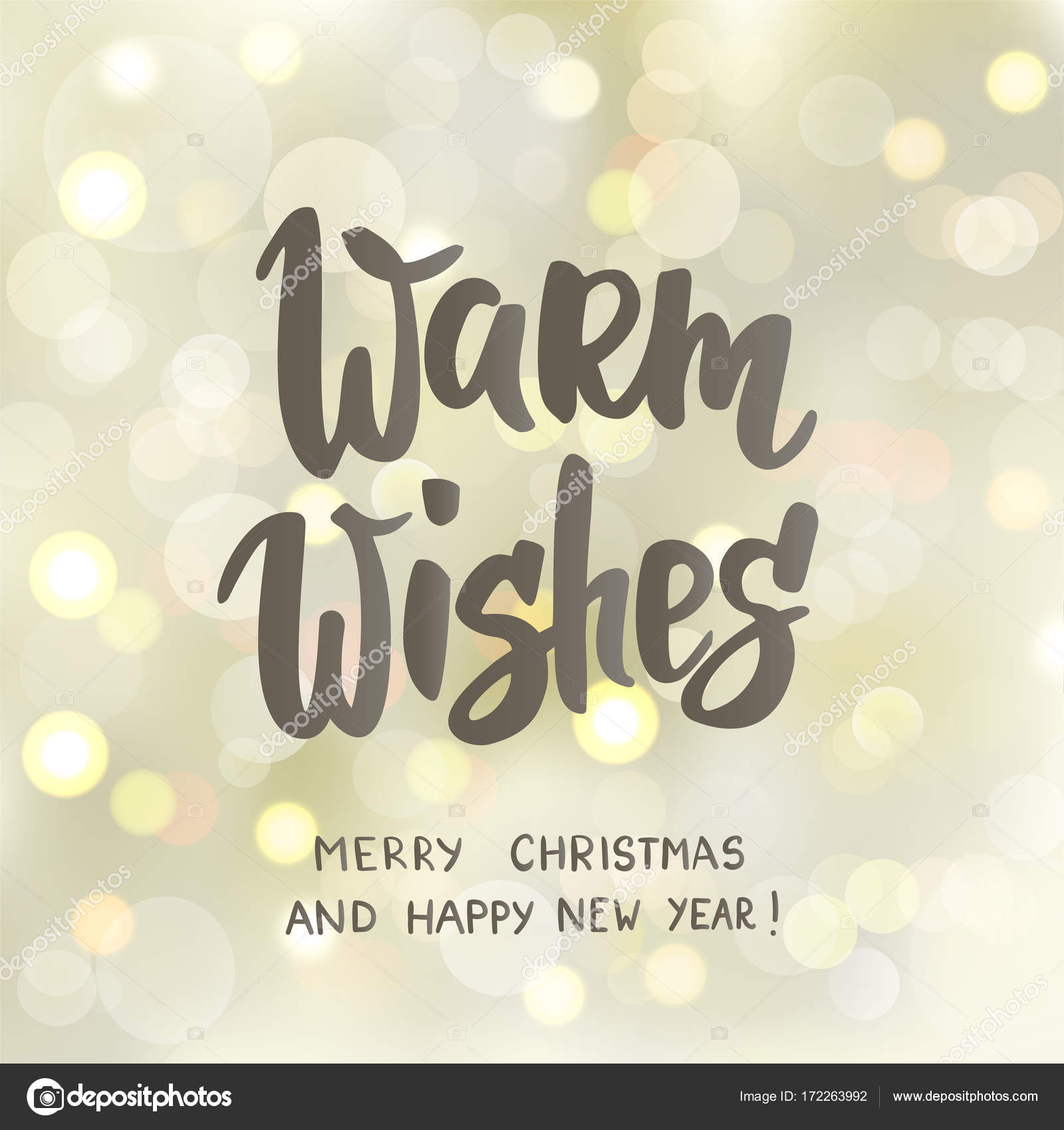 Warm wishes text, hand drawn letters. Holiday greetings quote. White ...