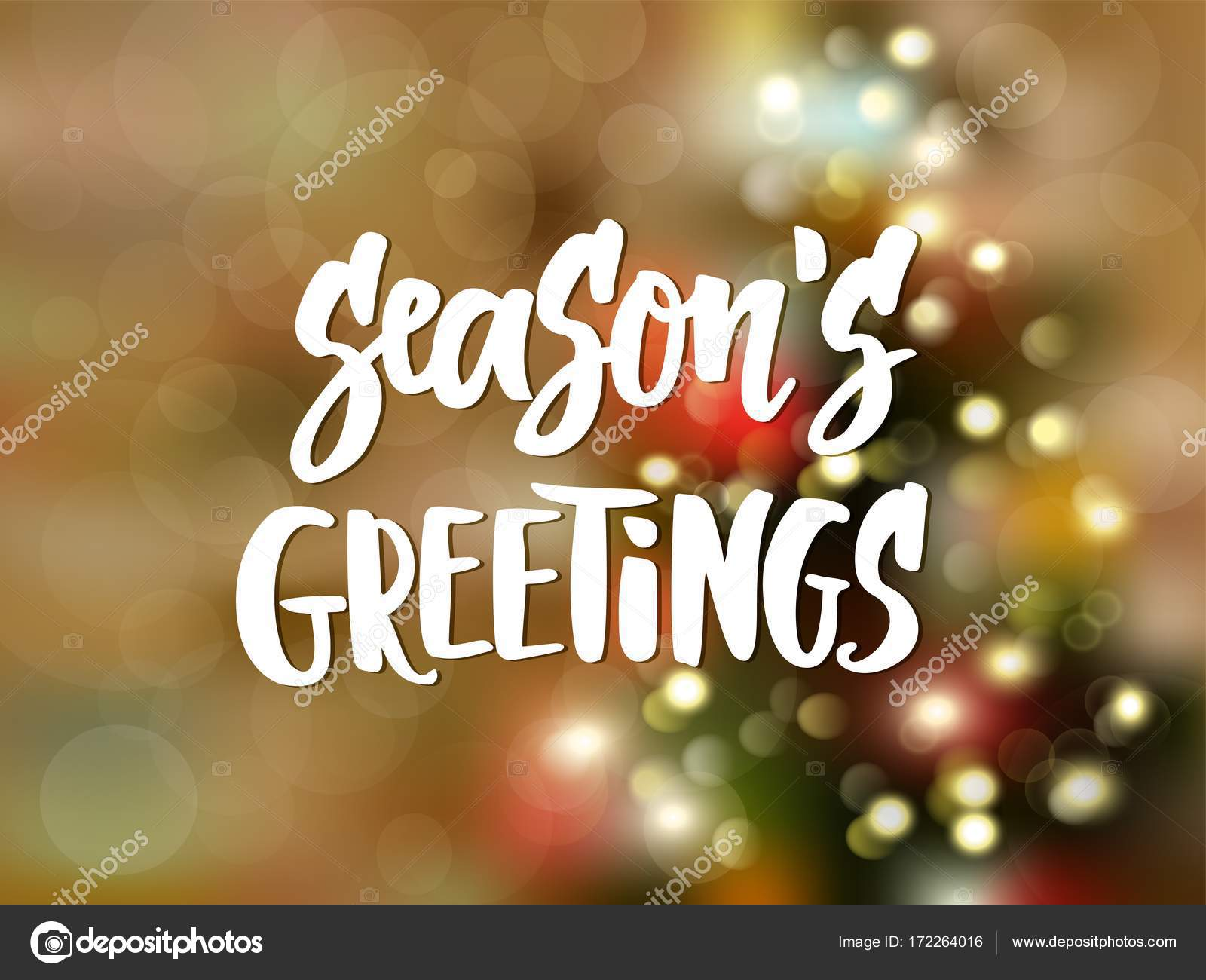 Seasons greetings text hand drawn lettering holiday greetings seasons greetings text hand drawn lettering holiday greetings quote blurred background with christmas m4hsunfo