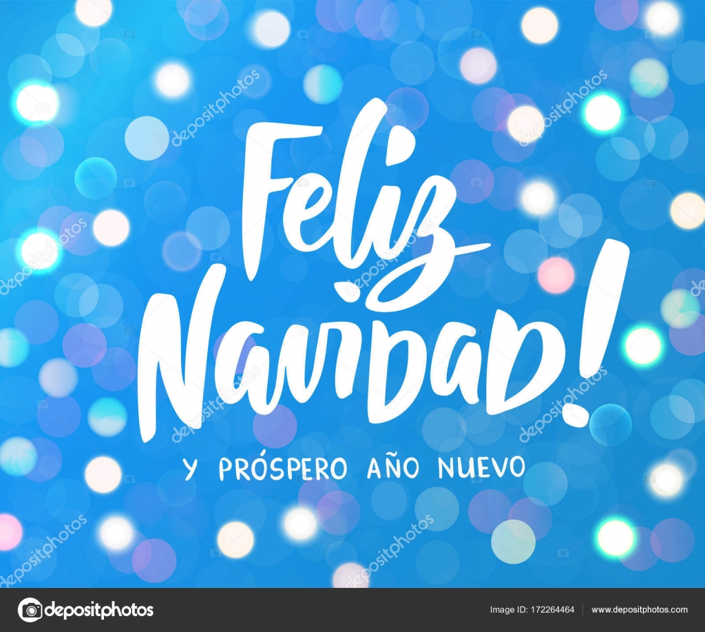 feliz navidad y prospero ano nuevo spanish merry christmas and happy new year hand drawn text white and blue glowing lights background holiday greetings