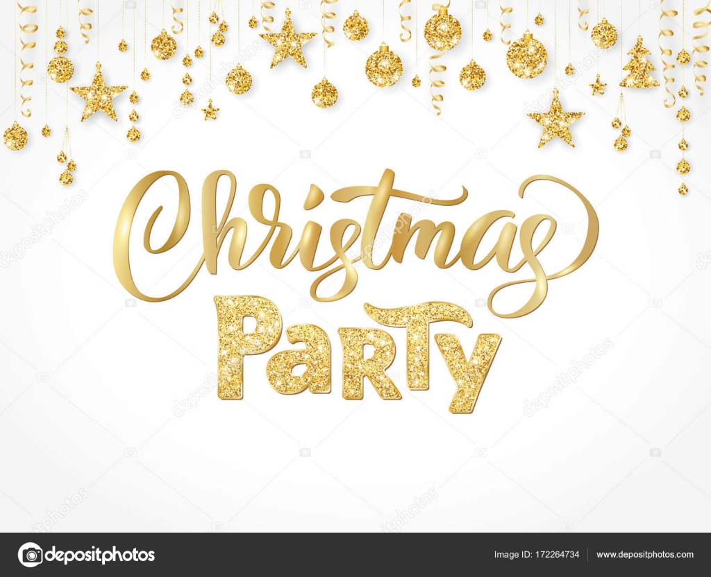 christmas party poster template gold on white hand written