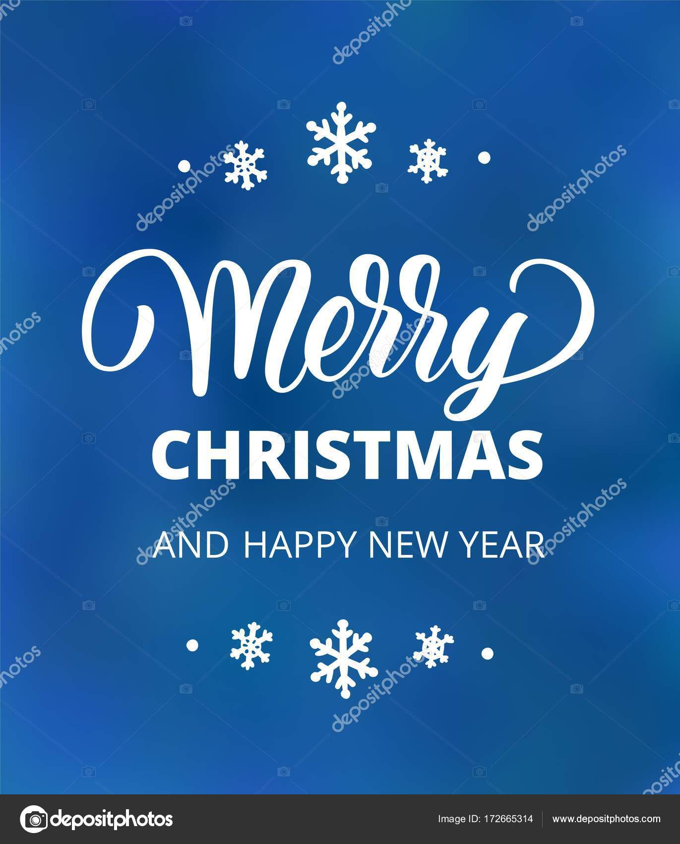 Merry christmas and happy new year text holiday greetings quote merry christmas and happy new year text holiday greetings quote hand drawn lettering on blue background great for christmas and new year cards posters kristyandbryce Images