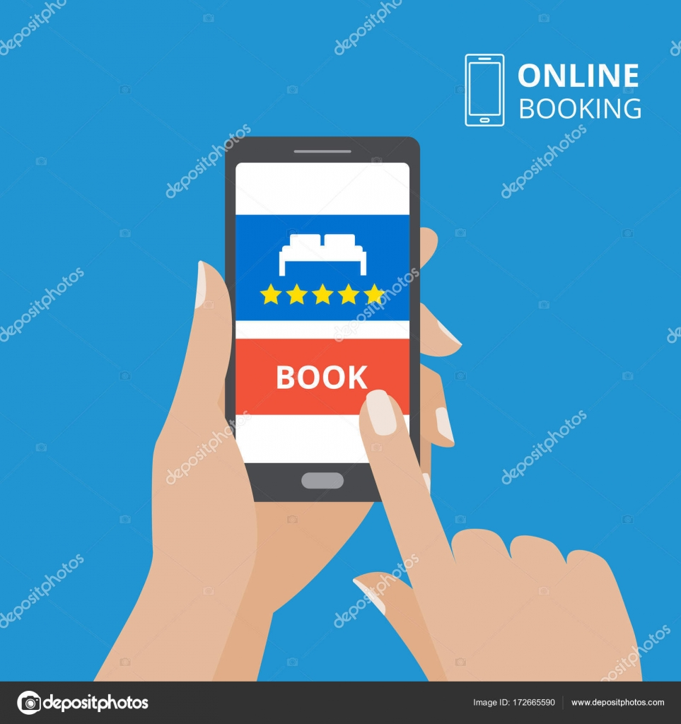 Design concept of hotel booking online. Hand holding smartphone with book button and bed icon