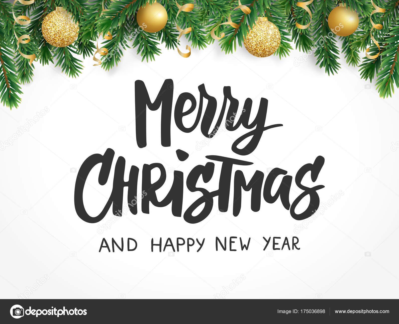 Geschenkanhänger Frohe Weihnachten.Frohe Weihnachten Text Baum Tannenzweigen Und Weihnachtskugeln