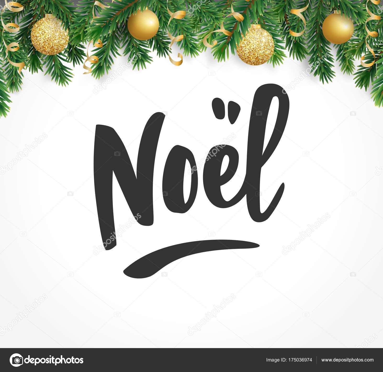 Noel Hand gezeichneten Buchstaben. Urlaubsgrüße zu zitieren. Tanne ...