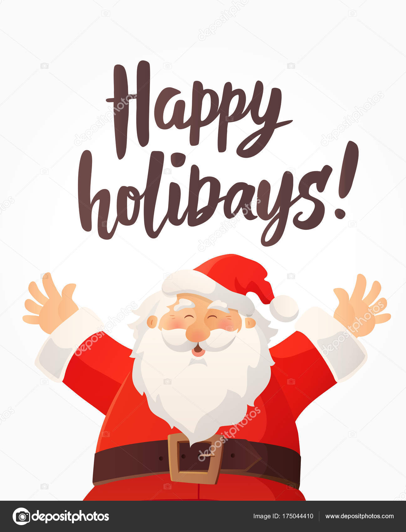 Christmas Card With Happy Holidays Text And Funny Cartoon Santa