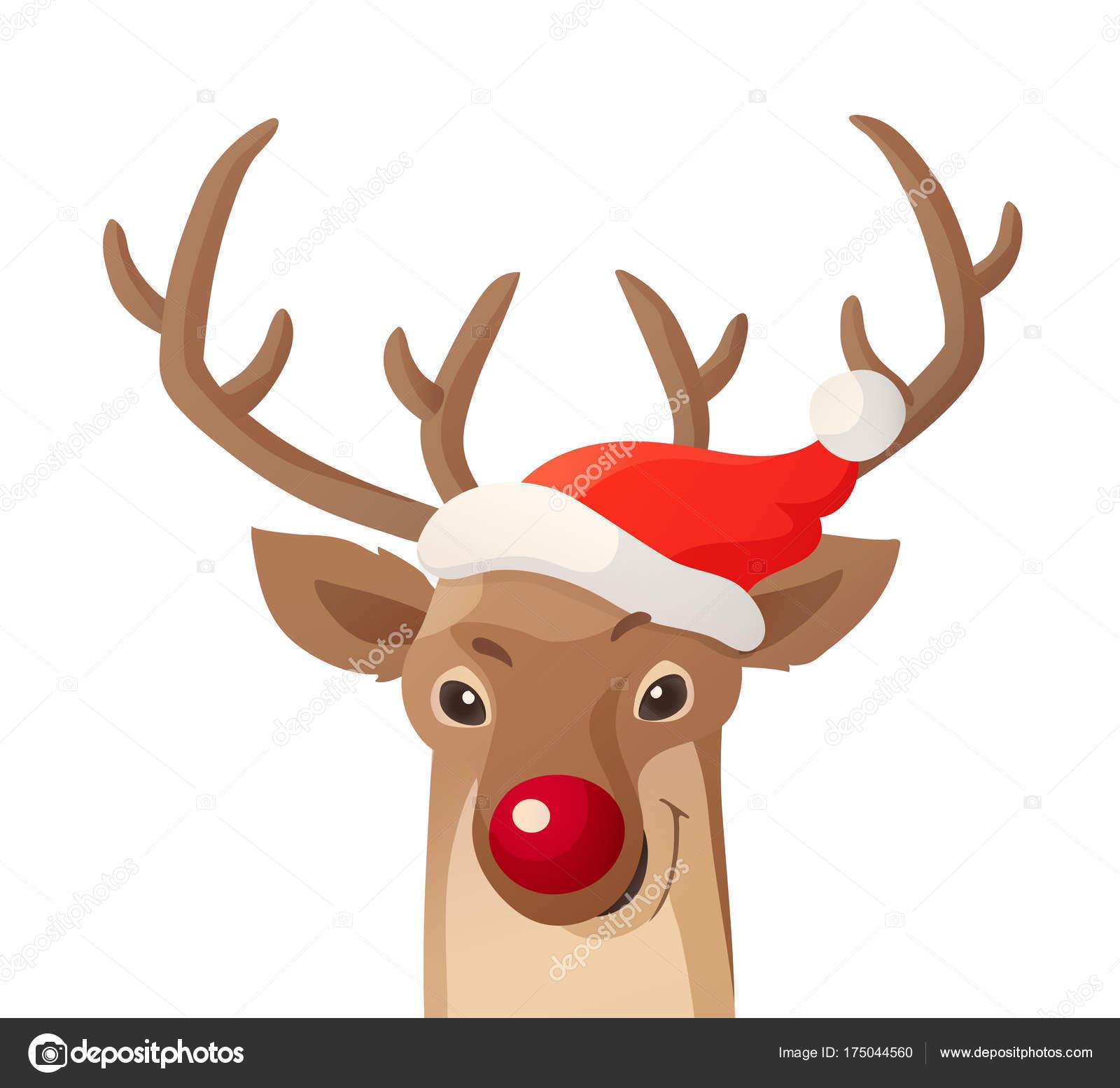 Cartoon Weihnachten Illustration. Lustige Rudolph rote Nase Rentier ...