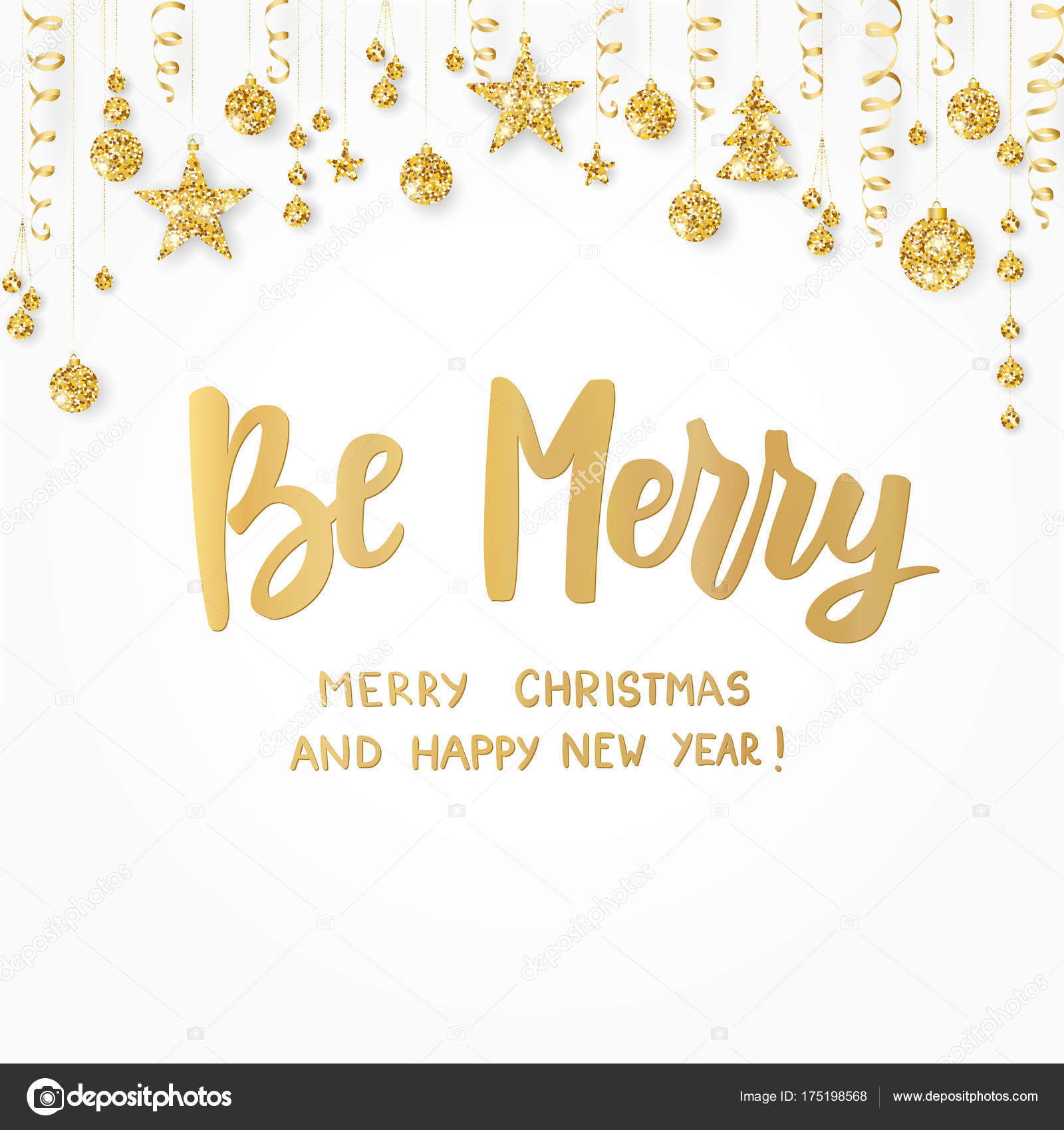 be merry happy new year and merry christmas text golden glitter border hanging