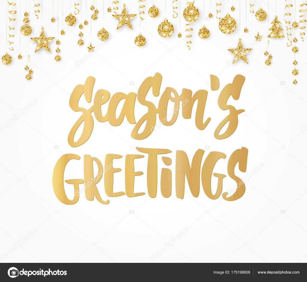 Jahreszeiten-Grußkarte. Handgezeichnete Schriftzug. Goldenen Glitzer ...