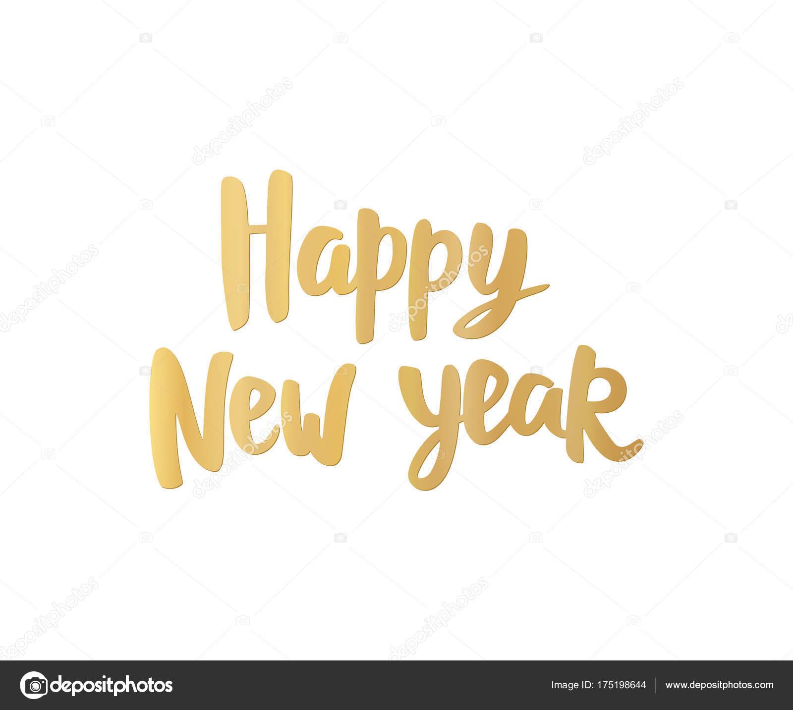 Happy New Year Karte. Goldene hand gezeichneten Schrift. Ideal für ...