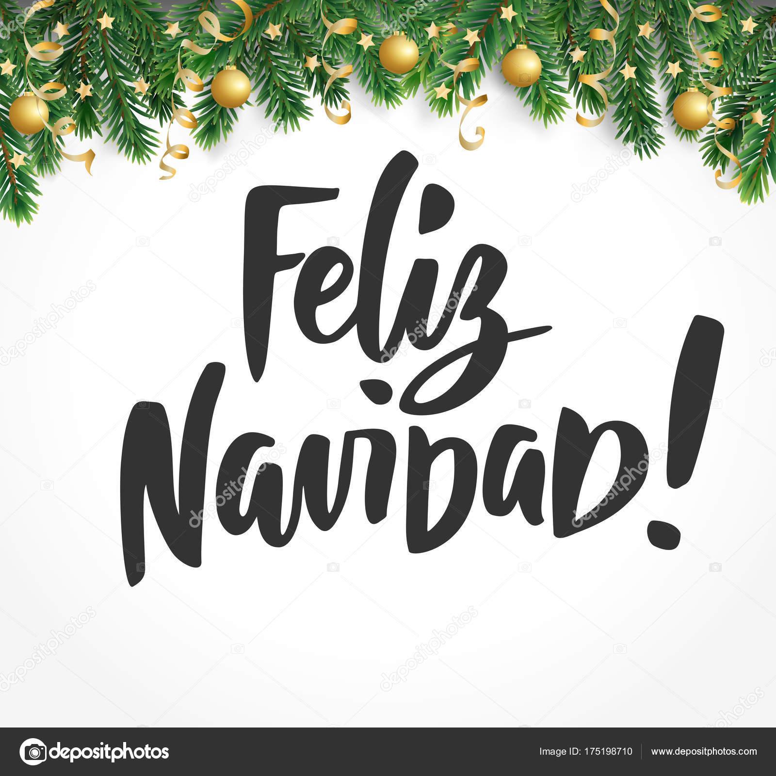 Feliz Navidad Rotulos.Feliz Navidad Text Holiday Greetings Spanish Quote Fir