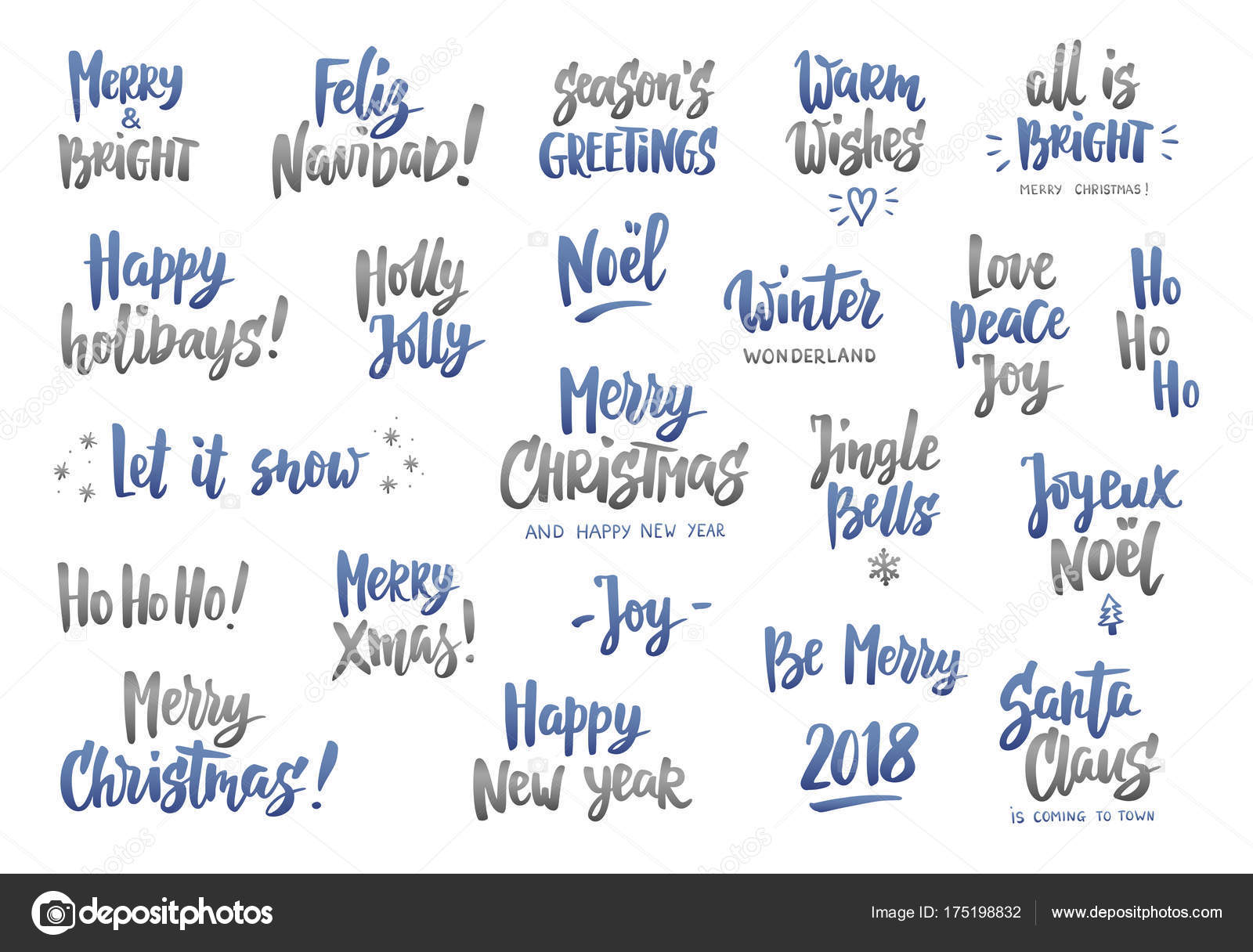 Holiday Wishes Quotes Set Of Holiday Greeting Quotes And Wisheshand Drawn Textgreat