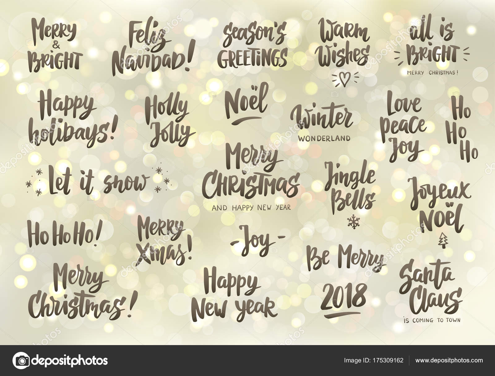 Set of holiday greeting quotes and wishes hand drawn text great set of holiday greeting quotes and wishes hand drawn text brush lettering merry christmas happy new year happy holidays etc great for cards gift tags m4hsunfo