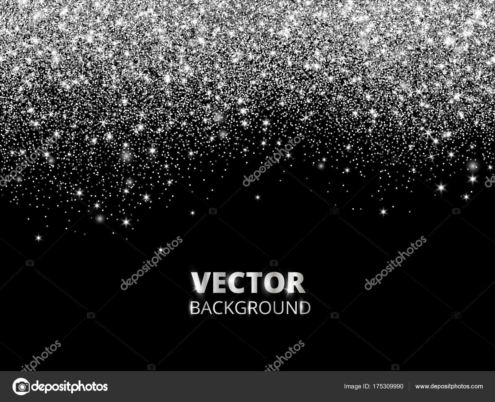 Falling glitter confetti vector silver dust explosion on black falling glitter confetti vector silver dust explosion on black background sparkling glitter border festive frame great for wedding invitations stopboris Images