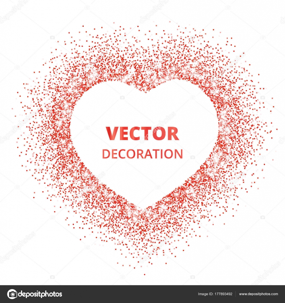 Red glitter heart frame border vector dust isolated on white red glitter heart frame border vector dust isolated on white great for decoration of valentine and mothers day cards wedding invitations party posters stopboris Gallery