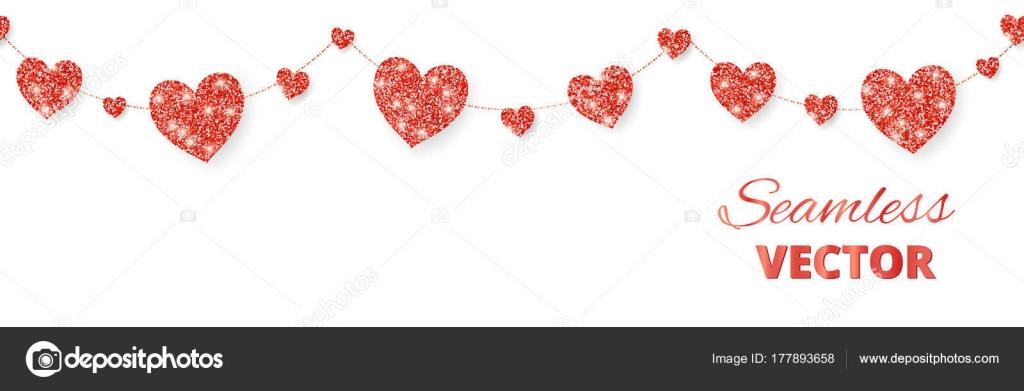 Rote Herzen Gestell, nahtlose Grenze. Vektor-Glitzer isoliert auf ...