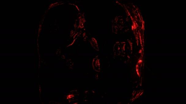 cg Filmmaterial von Eisstücken mit beweglichen und blinkenden roten Laserstrahlen dahinter. klarer Eiswürfel im dunklen Studio mit Laser und Licht. hochwertiges 4k Filmmaterial.