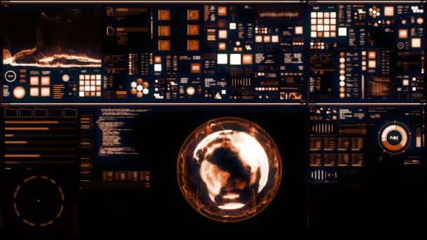 Teplé futuristické rozhraní/digitální displej. Detailní pozadí abstraktní s blikat a přepínání ukazatelů a stavy ukazující práci velitelského centra, zpracování velkých objemů dat, stroje jsou hluboce zakořeněny, průběh systém neuronové sítě